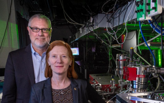 Henry Kapteyn and Margaret Murnane in their lab at JILA. (Credit: Glenn Asakawa/CU Boulder)
